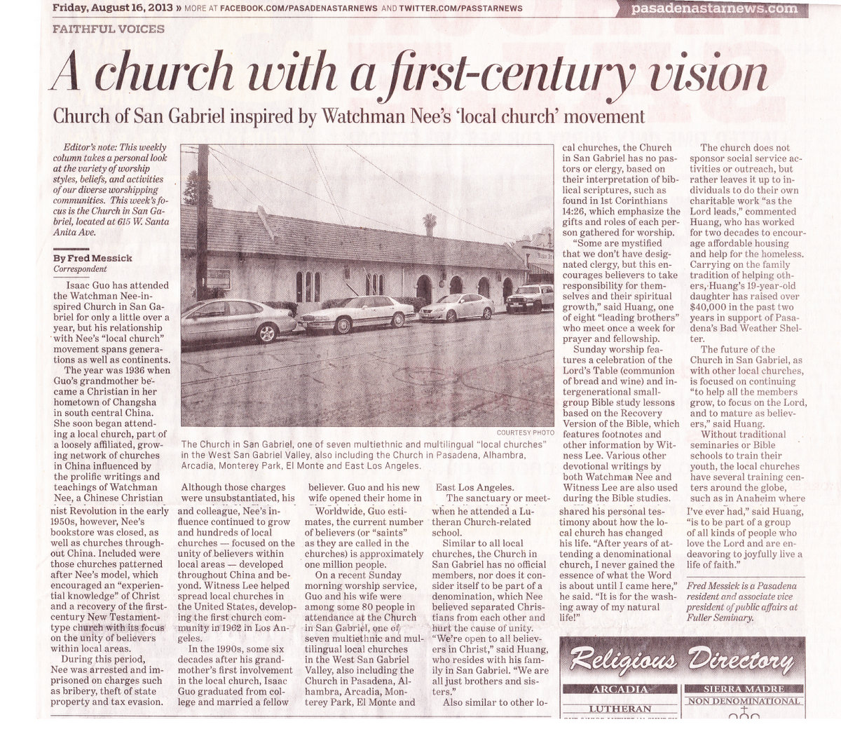 Church in San Gabriel Article in the Pasadena Star News by Fred Messick Correspondent